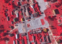 Aerial photography: Square in centre of locality - CIR