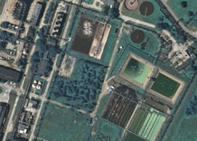 Aerial photography: Waste-water treatment by industrial factory - RGB