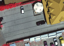 Aerial photography: Parking by the shop - CIR