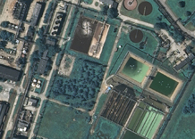 Aerial photography: Waste-water treatment by industrial factory