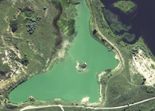 Aerial photography: Flooded quarry (Mykolaiv Oblast)