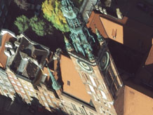 Aerial photography: Clock tower in Gdansk (Poland)