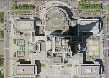Aerial photography: Palace of culture and sciences in Warsaw (Poland)