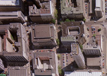 Aerial photography: Warsaw building in city centre  (Poland)